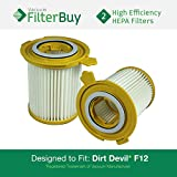 2 - Dirt Devil F-12 (F12) HEPA Replacement Filters, Part # 3KD1680000 (3-KD1680-000). Designed by FilterBuy to fit Dirt Devil Vision Canister Vacuum Cleaners