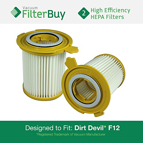 - 2 - Dirt Devil F-12 (F12) HEPA Replacement Filters, Part # 3KD1680000 (3-KD1680-000). Designed by FilterBuy to fit Dirt Devil Vision Canister Vacuum Cleaners