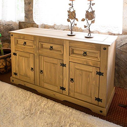 Corona Mexican Pine Large Sideboard   3 Drawers & 3 Doors   Rustic Design