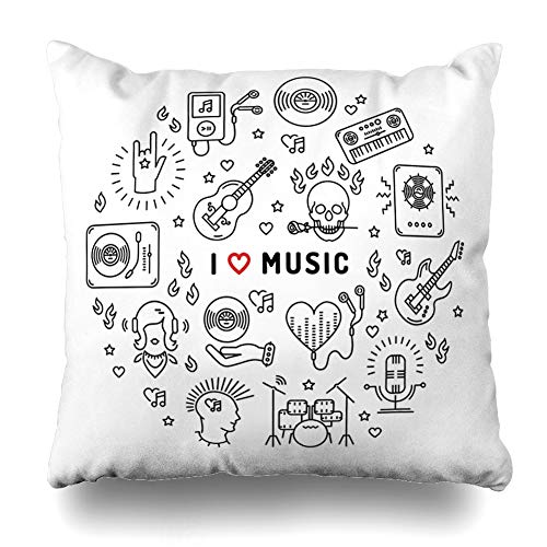 (ONELZ I Love Music Inspiring Quote Square Decorative Throw Pillowcase Two Sides Printed, Fashion Style Zippered Cushion Pillow Cover (18 x 18)