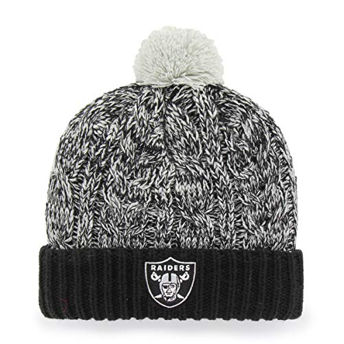NFL Oakland Raiders Women's Brilyn OTS Cuff Knit Cap with Pom, Black, Women's (Raider Hats For Women)