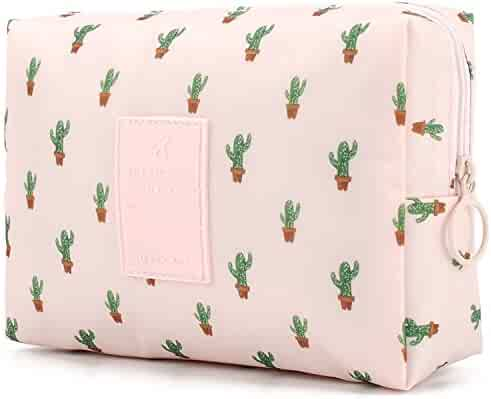 Small Cute Make up Pouch for Purse Makeup Brushes Bag Mini Travel Cosmetic Bag (Cactus)