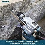 WESCO-Martello-Rotativo-1500W-Tassellatore-a-Percussione-55J-3-Modalita-di-Lavoro-TrapanoPerforazioneScalpello-Con-Impugnatura-Ausiliaria-Asta-di-Profondita-5-SDS-Plus-Punte-WS3202K1