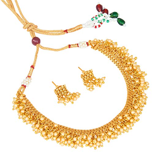 bodha Traditional Indian Temple Gold Jewelry Necklace Set 22K with Earrings for Women & Girls (SJ_2683) ()