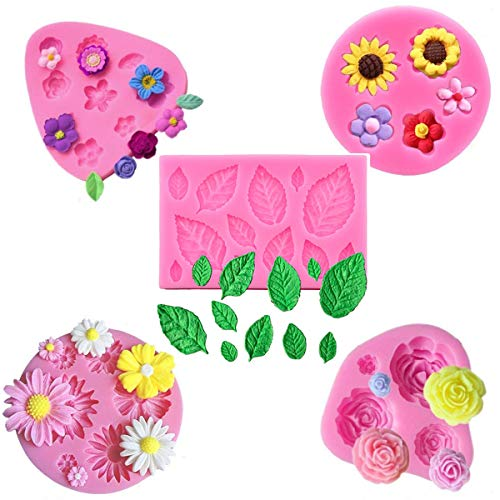 5Pcs/Set Mini Flower & Leaf Fondant Molds, Rose Daisy Sunflower Silicone Gumpaste Molds for Cake Cupcake Topper Decoration Small Leaves Chocolate Candy Polymer Clay Resin Crafting Projects Tools (Daisy Chocolate Molds)