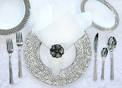 Royalty Settings Hammered Plastic Cutlery and Plastic Plates Set Party Package for 120 Persons, Includes 120 Dinner Plates,120 Salad Plates, 240 Forks, 120 Knives, 120 Spoons ()