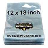 100 pcs Quality 12 x 18 inch PVC Shrink Wrap Bags for Books, Soaps, Bath Bombs, Bottles, Crafts & DIY Products by Mighty Gadget (R) - 100 gauge