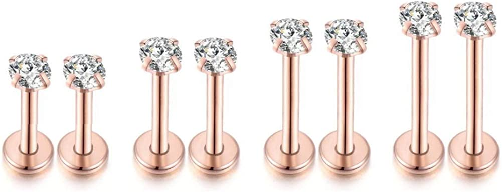 4 Pairs 16Gauge CZ Internally Threaded Labret Cartilage Tragus Studs Earrings Stainless Steel Monroe Lip Nose Helix Piercings Jewelry 3MM