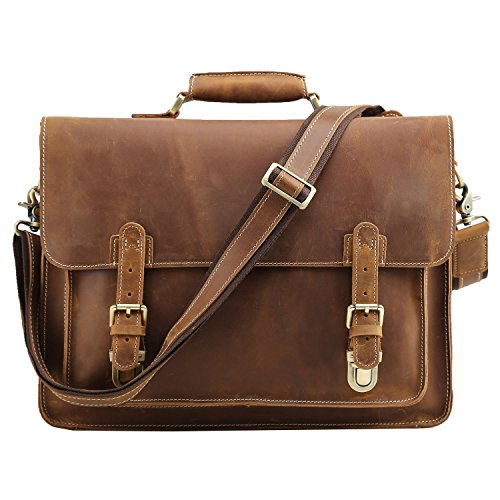 Polare Men's Full Grain Leather Laptop Briefcase Messenger Bag Vintage Travel Case by Polare