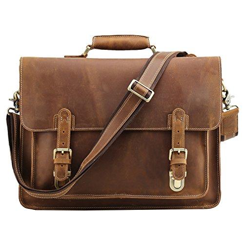 Grain Leather Briefcases (Polare Men's Full Grain Leather Laptop Briefcase Messenger Bag Vintage Travel Case)