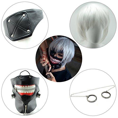 - iNewcow 5PCS/Set Tokyo Ghoul Kaneki Ken Cosplay Mask Silver Hairpiece Handcuffs Halloween Party Cool Mask Prop Zipper Mask