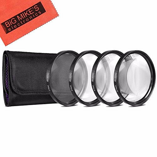 49mm Close-Up Filter Set (+1, +2, +4 and +10 Diopters) Magnification Kit for Canon EF 50mm f/1.8 STM Lens (Macro Filter Set)