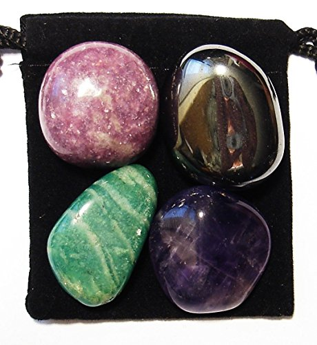 The Magic Is In You ADD/ADHD Relief Tumbled Crystal Healing Set with Pouch & Description Card - Amazonite, Amethyst, Hematite, and Lepidolite