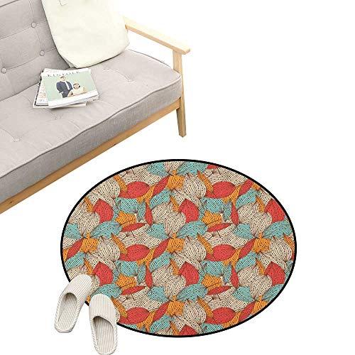 - Autumn Custom Round Carpet ,Doodle Art Style Mix of Leaf Motifs in Retro Colors Romantic Autumn Season Theme, Dorm Room Bedroom Home Decorative 31