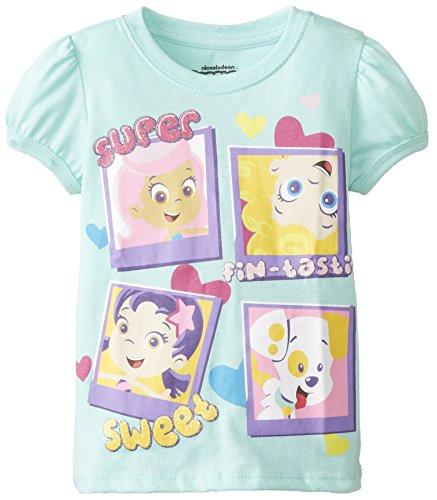 Nickelodeon Little Girls' Bubble Guppies Super Sweet Girls Puff Sleeve T-Shirt, Mint, 2T