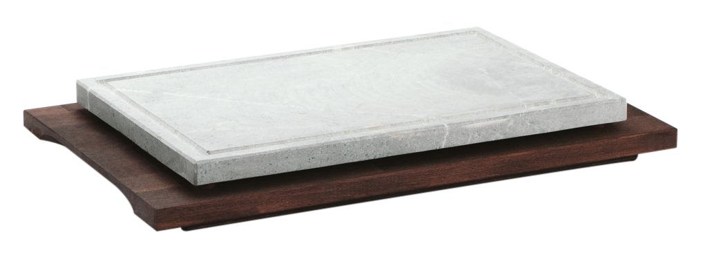 Bisetti bt-99114 rectangular cocina piedra con base de madera de haya en color wengué acabado, 15.7