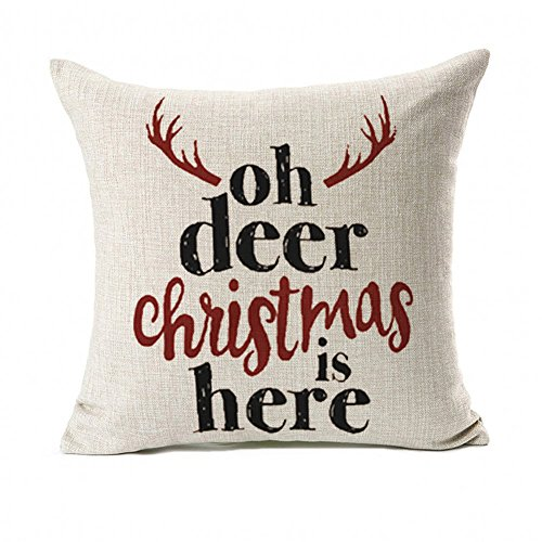 Deer Christmas Is Here Throw Pillow Case Cushion Cover for Sofa Couch Home Decorative Cotton Linen 18 x 18