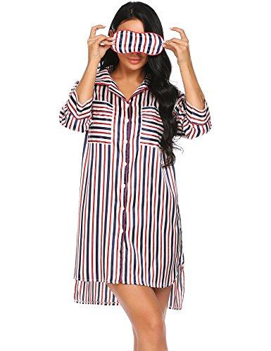 Satin Striped Button - L'amore Womens Satin Nightshirt Boyfriend Button Silky Sleepshirts Stripe Shirt Sleepwear
