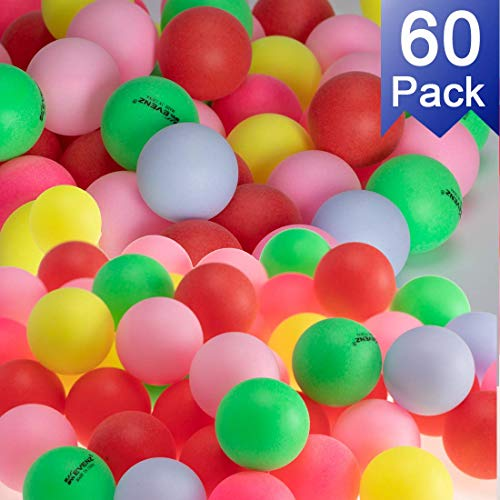 Best Review Of KEVENZ 60-Pack Beer Ping Pong Balls Assorted Color Plastic Ball