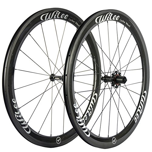 Wilee Bike Carbon Fiber Road Bike Wheels 700C 50mm Glossy 23 width Clincher Carbon Wheelset by Wilee Bike