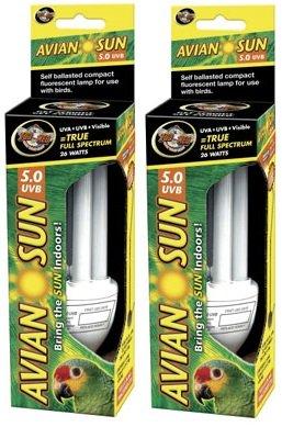 (2 Pack) Zoo Med AS‑C5 Avian Sun 5.0 Compact Florescent Bulb, 26-Watt