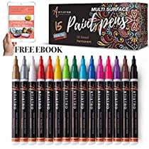 Paint Pens for Rock Painting, Stone, Metal, Ceramic, Porcelain, Glass, Wood, Fabric, Canvas. Set of 15 Permanent Oil Based Paint Markers Fine Round Tip 1-2mm