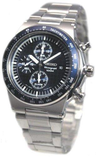 SNAA43 Reloj Seiko Caballero, cronogafo, correa y caja de acero, sumergible 100 metos, garantia 2 años.: Amazon.es: Relojes