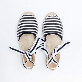 YOPAIYA Espadrilles Plat Loafers Femmes Cross Strap Chaussures Confortable Pantoufles Dames Femmes Casual Chaussures Respirant Lin Chanvre Toile Stripe Épissage Sandales