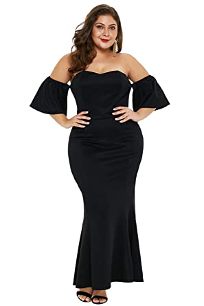 a9b462de235 FUSENFENG Womens Off Shoulder Bodycon Plus Size Prom Evening Party Maxi  Dress (Black