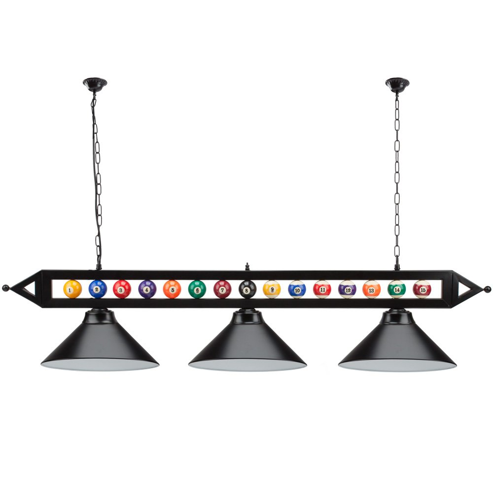59'' Hanging Billiard Light for 7ft/8ft/9ft Pool Tables - (Several Colors Lamp Shades Available) (Black Lamp Shades)