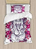 Ambesonne Elephant Duvet Cover Set Twin Size, Elephant Figure over Floral Colorful Mandala Pattern Eastern Faith Symbol Print, Decorative 2 Piece Bedding Set with 1 Pillow Sham, Pink Grey