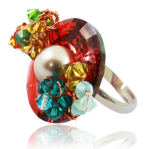 Promo Code For Costumes Express (Bijoux De Ja Rhodium Plated Flower Multicolored Austrian Crystal Simulated Pearl Adjustable Ring Size 5-8)