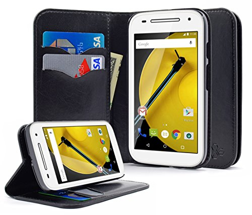 Moto E LTE (2nd Generation, 2015) Case, NageBee - Moto E 2nd Wallet Flip Case Pouch Cover Fold Stand case Premium Leather Wallet Flip Case For Motorola Moto E 2nd Generation (Wallet Black)