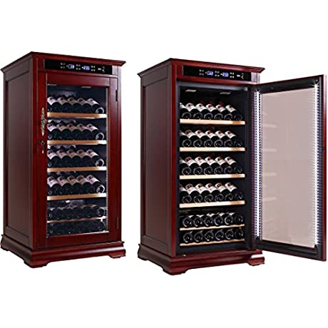 THE Randolph Adjustable Climate Control Wine Bottle Cabinet W Slide Out Trays Up To 100 Bottles Dark Cherry Finish