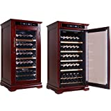 wine and cigar cabinet - THE Randolph Adjustable Climate Control Wine Bottle Cabinet w/ Slide Out Trays - Up To 100 Bottles - Dark Cherry Finish