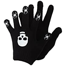 Childrens/Kids Halloween Design Magic Gloves (One Size) (Black/White (Skull & Spiders))