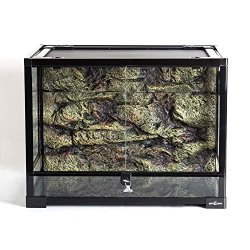 REPTI ZOO Reptile Glass Terrarium with Foam Backgrounds,Double Hinge Door with Screen Ventilation Reptile Terrarium 24