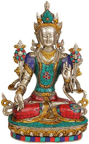 Tara Brass Statue - White Tara - Brass Statue With Inlay