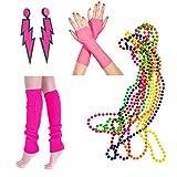 InnoBase 80s Fancy Dress Neon Legwarmers, Lightning Earrings, Fishnet Gloves,Multicolour Bead Necklaces Party Costume Accessories Set