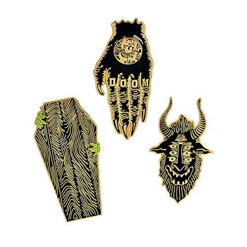 Skull Women Brooches Collar Lapel Pins Set Enamel Button Badge Black Totem Bound Jacket Shirt Halloween Accessories