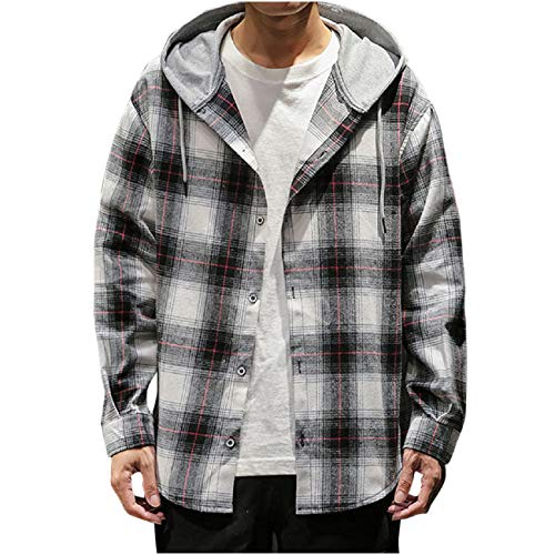 FAPIZI Mens Shirt Long Sleeve Checkered Classic Slim Fit Plaid Button Down Shirt Hoodie Sweatshirt Tops