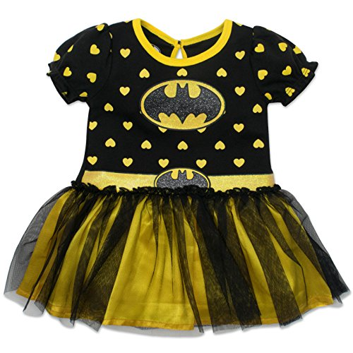 Toddler Bat Girl Costumes (Batgirl Toddler Girls' Costume Tutu Dress Black and Yellow , Black , 4T)