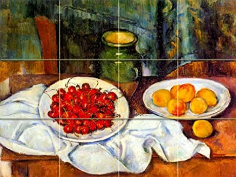 Plate of Cherries By Paul Cezanne Art Ceramic Tile Mural 24