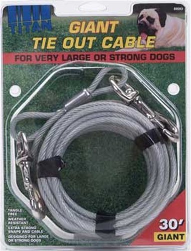 Titan Giant Cable 30-Feet Long  Dog Tie Out, Silver Silver 30' Cable