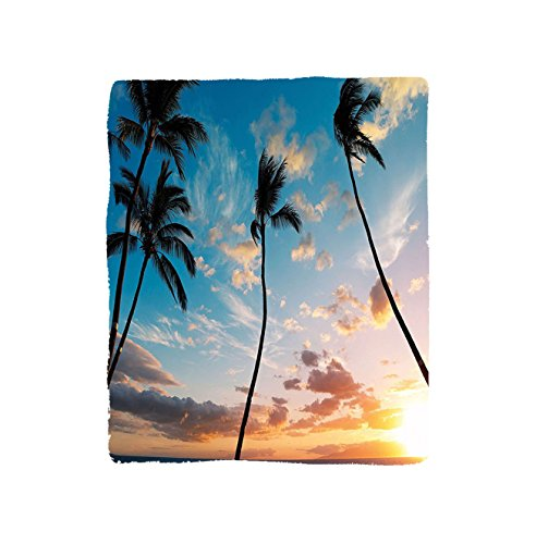 VROSELV Custom Blanket Palm Tree Sunset Trees in Hawaii Tropical Paradise with Bright Sky Dreamy Picture Bedroom Living Room Dorm Blue Orange by VROSELV
