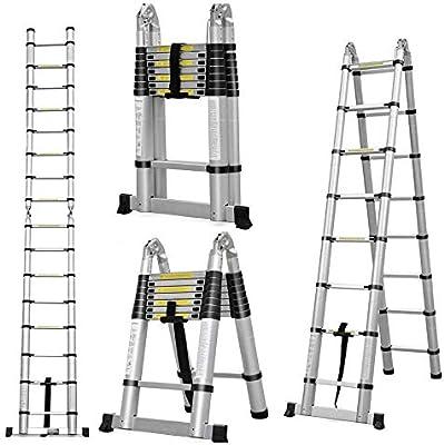 Escalera telescópica de aluminio multiusos plegable, con bloqueo de seguridad de goma y pies de goma antideslizante: Amazon.es: Bricolaje y herramientas