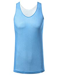 JD Apparel Men's Hipster Sport Reversible Mesh Tank Top (Size up to 3XL)