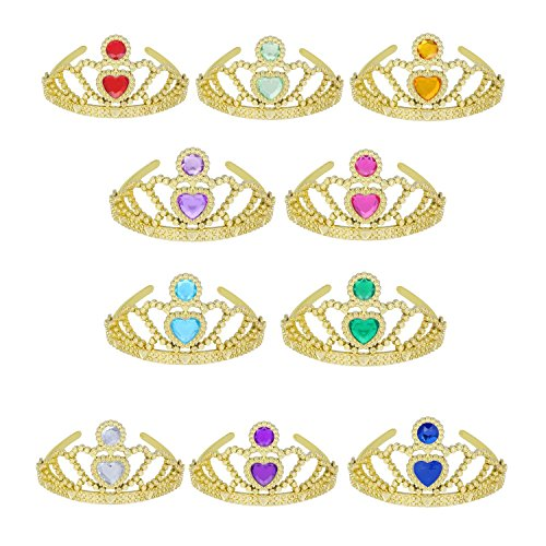 Tiaras and Crowns for Little Girls Princess Dress Up Plastic Gold Tiara Mix Color (10 (Gold Plastic Tiara)
