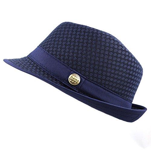 THE HAT DEPOT 200G1015 Classic Cool Soft Mesh Fedora hat (L/XL, Navy) (Pork Pie Hat)