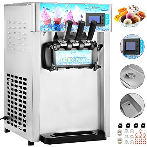 VEVOR Commercial Soft Ice Cream Machine 3 Flavor 4.75Gal/H Yogurt Maker Perfect for Coffee Shop or...